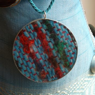 Resin and handwoven textile jewellery