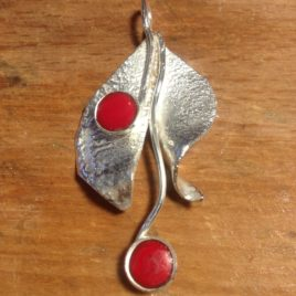 Pendant – Sterling silver leaves with two enamelled domes.