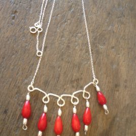 Necklace – Sterling silver with dyed bamboo coral