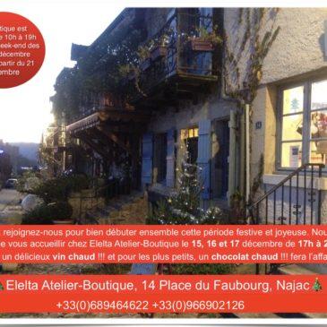 Vennez nous visiter le 15, 16 et 17 décembre de 17h à 20h et on vous offrir un délicieux vin chaud !!!