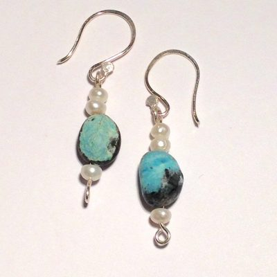 ELER108 - Sterling silver chrysoprase bead and freshwater pearls