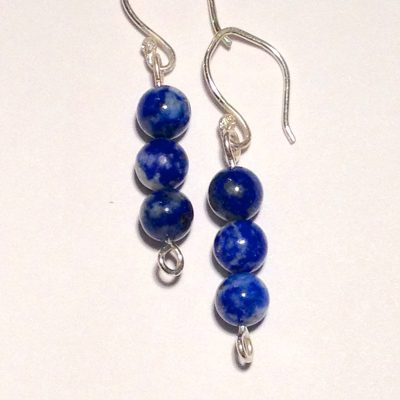 ELER104 - Sterling silver earrings with three round lapis beads.