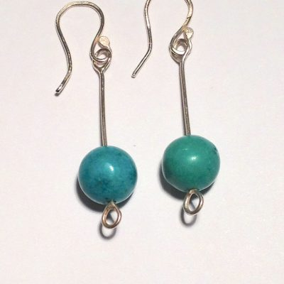 ELER113 - Sterling silver long earrings with turquoise round beads.