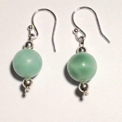 ELER161 - Sterling silver earrings with round iolite and silver beads