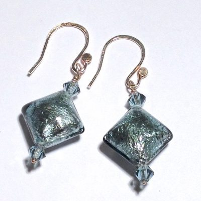 ELER148 - Lampwork puff diamond shaped glass bead earrings (light sapphire in colour) and light sapphire crystal beads.