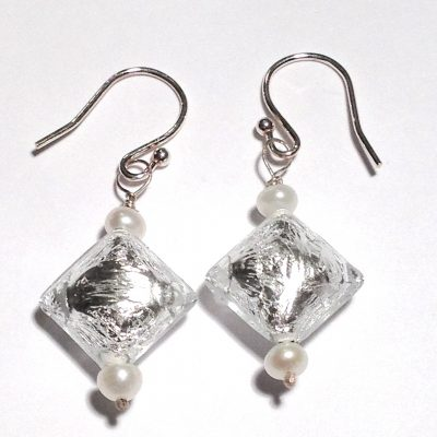 Lampwork puff diamond shaped glass bead earrings (clear in colour) and fresh water pearls.