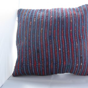 Blue cotton with turquoise stripes and sari silk, over fuschia linen warp.
