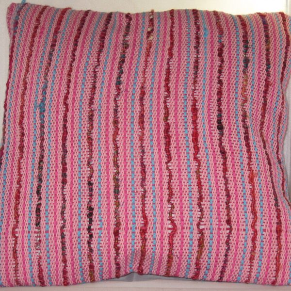 SOLD - Light pink cotton with fuschia and turqoise cotton and sari silk, over fuschia linen warp.