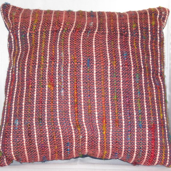SOLD - Navy linen with sari silk and light peach cotton, over brick red linen warp.