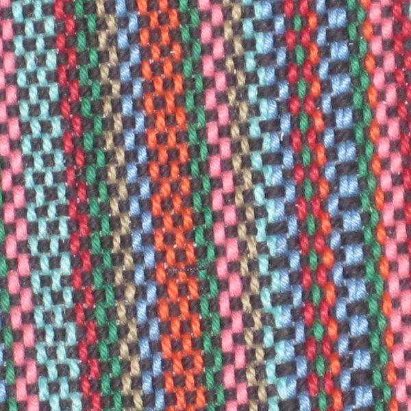 Navy cotton over mutlicoloured warp, detail