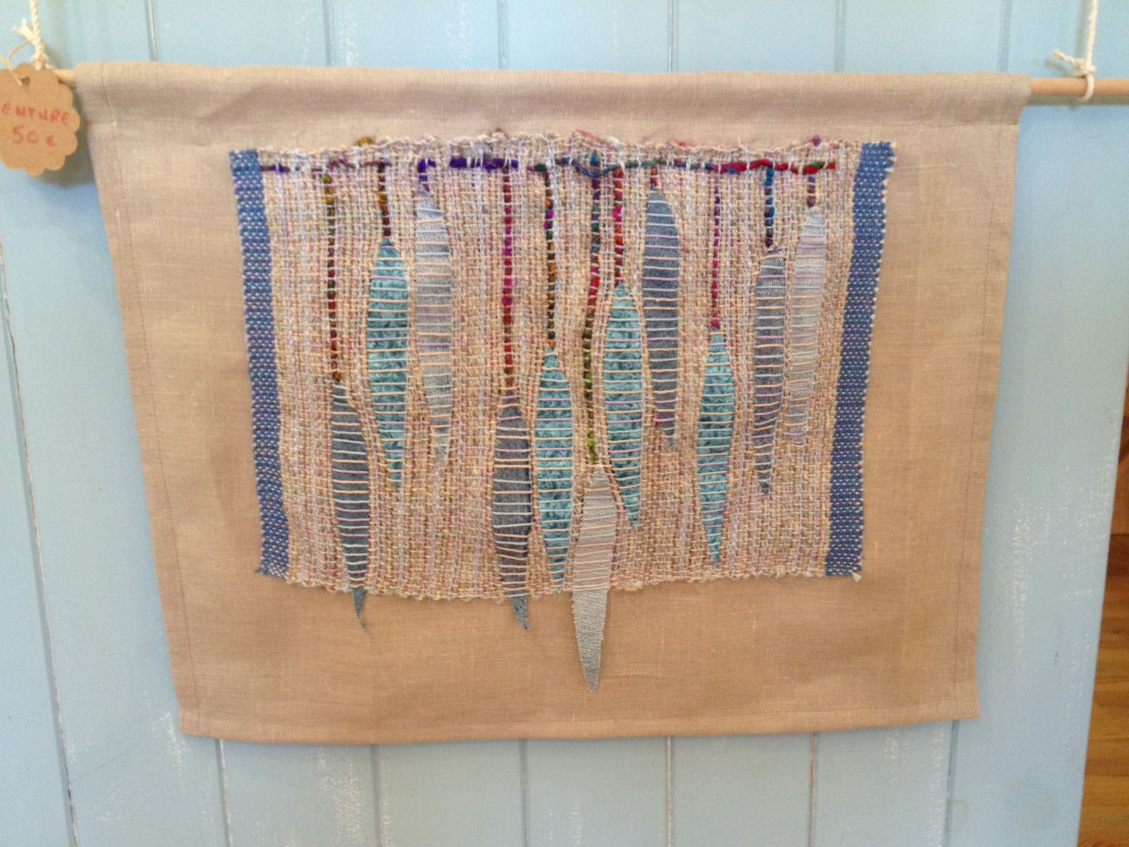Handwoven Wall Hanging with Willow Leaf Motif
