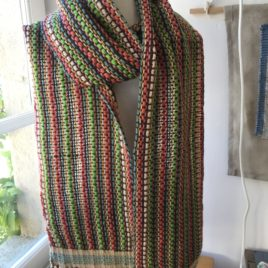 Handwoven Scarf in Orange and Green