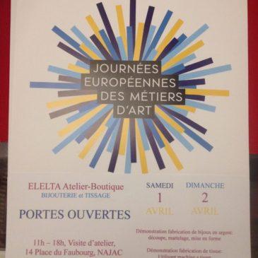 Nous nous préparons pour le Journées européennes des Métiers d'Art, les 1 et 2 avril 2017