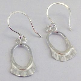 Earrings – Sterling silver oval earrings with flared silver sheet detail
