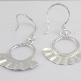 Earrings – Sterling silver round earrings with flared silver sheet detail