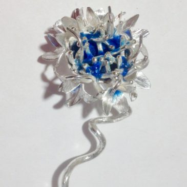 For July, we chose to create a silver Cornflower pendant