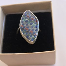 Ring – Sterling silver wire ring with handwoven textile set in silver and resin