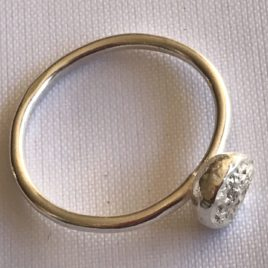 Ring – Sterling silver wire ring with molten silver disk