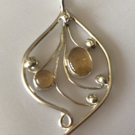 Pendant – Sterling silver filigree with citrine stones