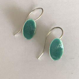 Earrings – Sterling Silver enamelled dome earrings