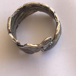 Ring – Sterling silver oxidised ring made with molten silver