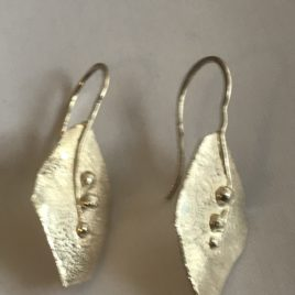 Earrings – Sterling Silver reticulated leaf