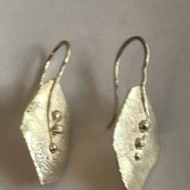 Earrings – Sterling Silver reticulated leaf