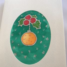 Silk Greeting Cards – Hand painted silk cards (Christmas)