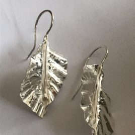 Earring – Sterling Silver hammered and formed leaf earrings