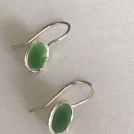 Earring – Sterling Silver enamelled dome earring