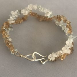 Bracelet – Sterling silver wire with moonstone and citrine chips