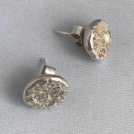 Earring – Sterling silver molten stud