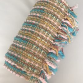 Handwoven Scarf – Pink and Turquoise