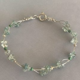 Bracelet – Sterling silver wire with aquamarine chips