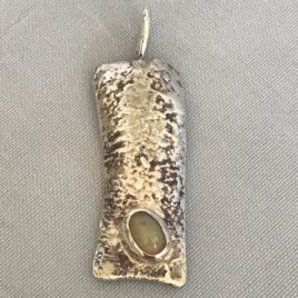 Pendant – Sterling Silver reticulated bark and Ethiopian opal
