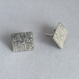 Earring – Sterling silver square hammered