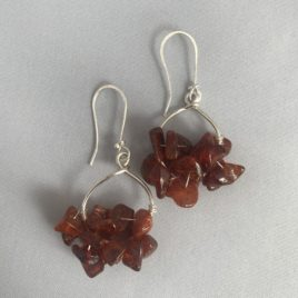Earring – Sterling silver with amber chips