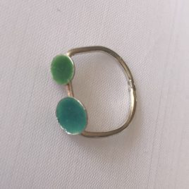 Ring – Sterling silver with two sized enamelled domes