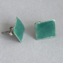 Earring – Sterling silver square enamelled