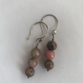 Earring – Sterling silver with rhodonite beads