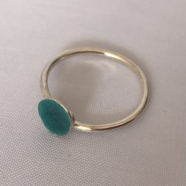 Ring – Sterling silver with one enamelled dome (adjustable)