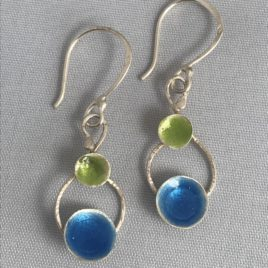 Earring – Sterling silver with enamel domes