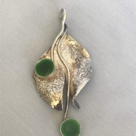 Pendant – Sterling Silver reticulated leaf with enamelled domes