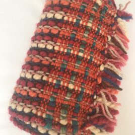 Handwoven Scarf – Red/Orange/Beige