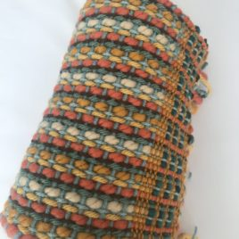Handwoven Scarf – Orange/Beige/Green