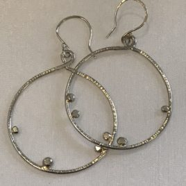 Earring – Sterling silver large circle with silver balls