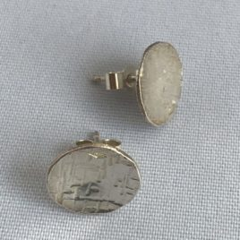Earring – Sterling silver round hammered and domed