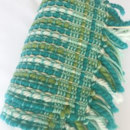Handwoven Scarf – Turquoise and Green