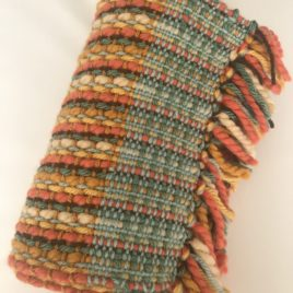 Handwoven Scarf – Orange/Beige/Green
